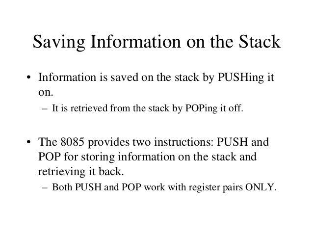 The PSW Register Pair • The 8085 recognizes one additional register pair called the PSW (Program Status Word). – This regi...