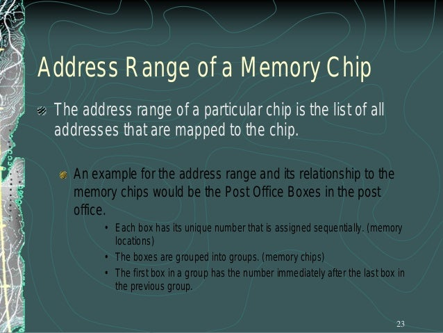 Chip Select Example To illustrate this with a picture:     in the first case, the memory chip occupies the piece of the ...