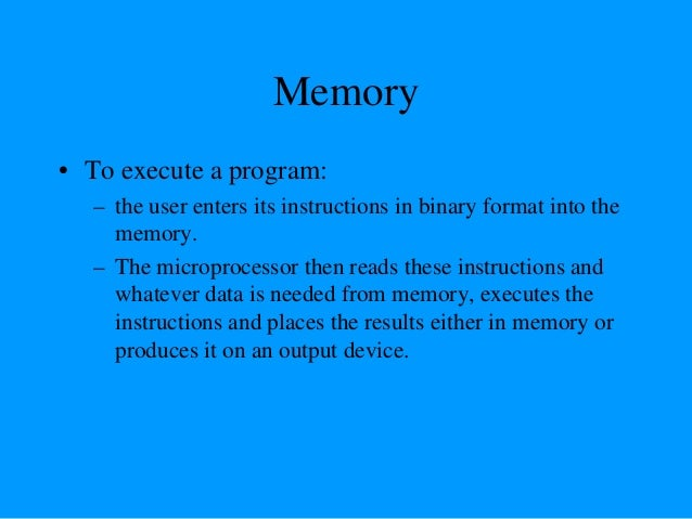 """The three cycle instruction execution model • To execute a program, the microprocessor """"reads"""" each instruction from memor..."""