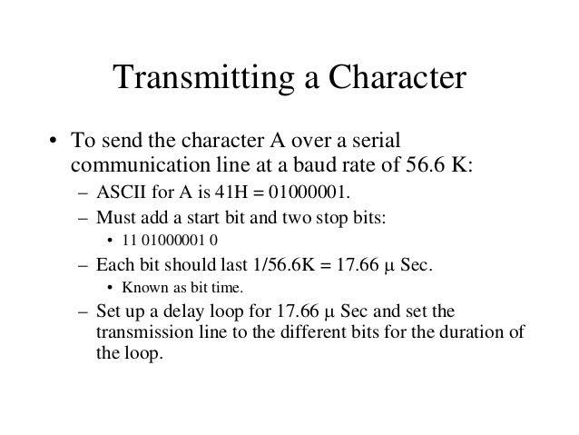 Serial Transmission 0 1 0 0 0 0 0 1  Output Port  D7 D6 D5 D4 D3 D2 D1 D0  D0  Stop  0  1  0  0  Time  0  0  0  1  Start  ...