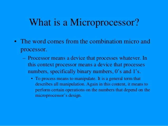 What about micro? • Micro is a new addition. – In the late 1960's, processors were built using discrete elements. • These ...