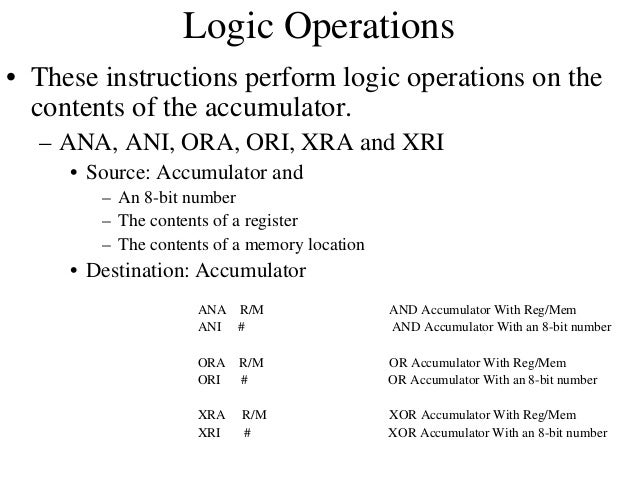 RLC vs. RLA Carry Flag  • RLC 7  6  5  4  3  2  1  0  Accumulator  Carry Flag  • RAL  7  6  5  4  3  2  Accumulator  1  0