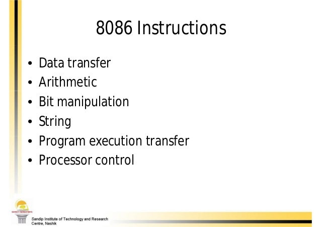 8086 Instruction Set With Types