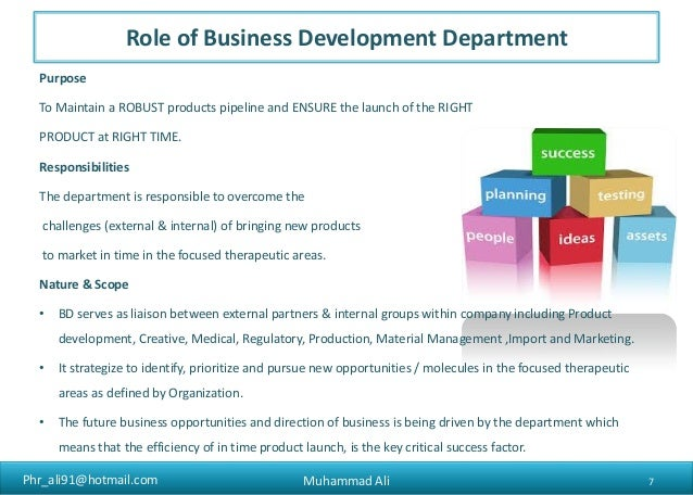 Role of business development in national pharmaceuticals for Company product development