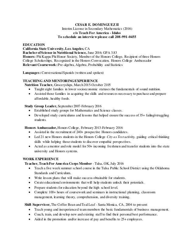 stunning teach for america resume gallery simple resume office