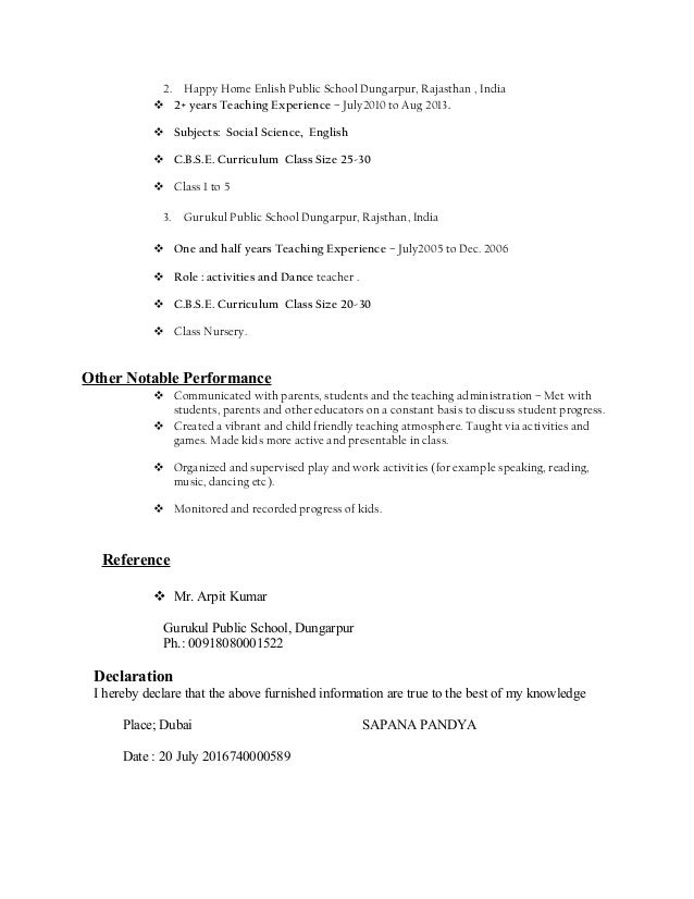 Resume Sapana Pandya Primary Teacher