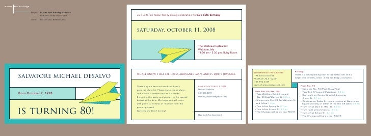 monica desalvo design                          Project: Suprise 80th Birthday Invitation                                  ...