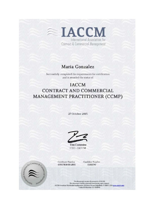 Iaccm Certificate Contract And Commercial Management