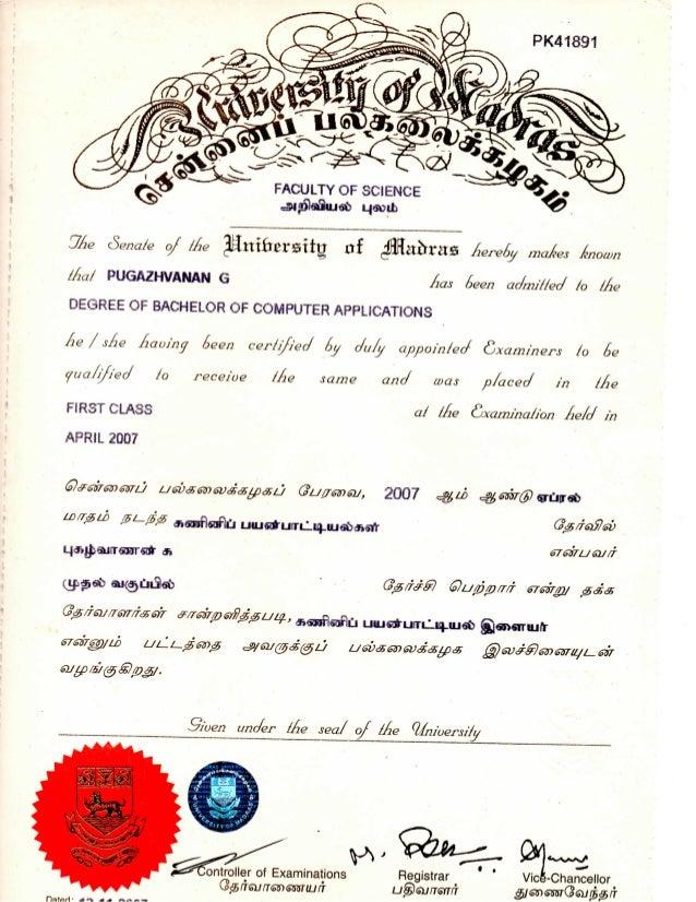 Bca Degree Certificate