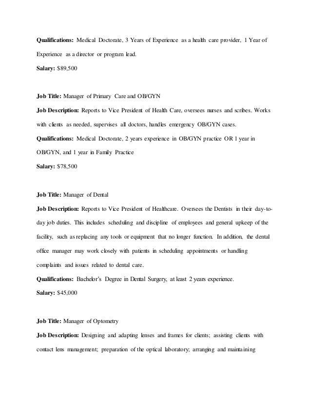 gynecologist job description healthcare salary world pca resume