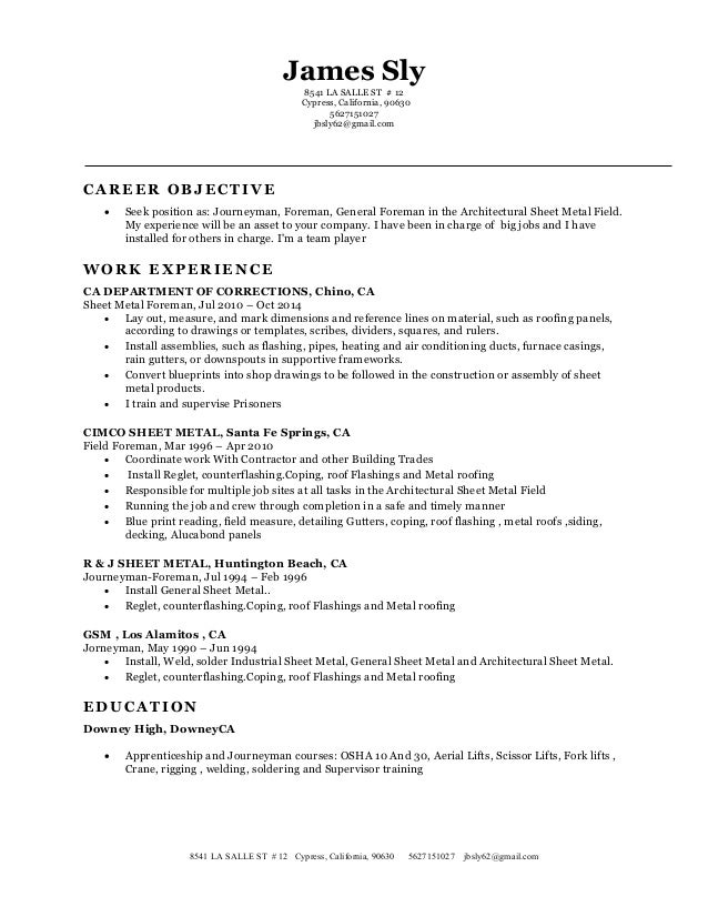 My New Resume Classic. James Sly 8541 LA SALLE ST # 12 Cypress, California,  90630 5627151027 Jbsly62@  My New Resume