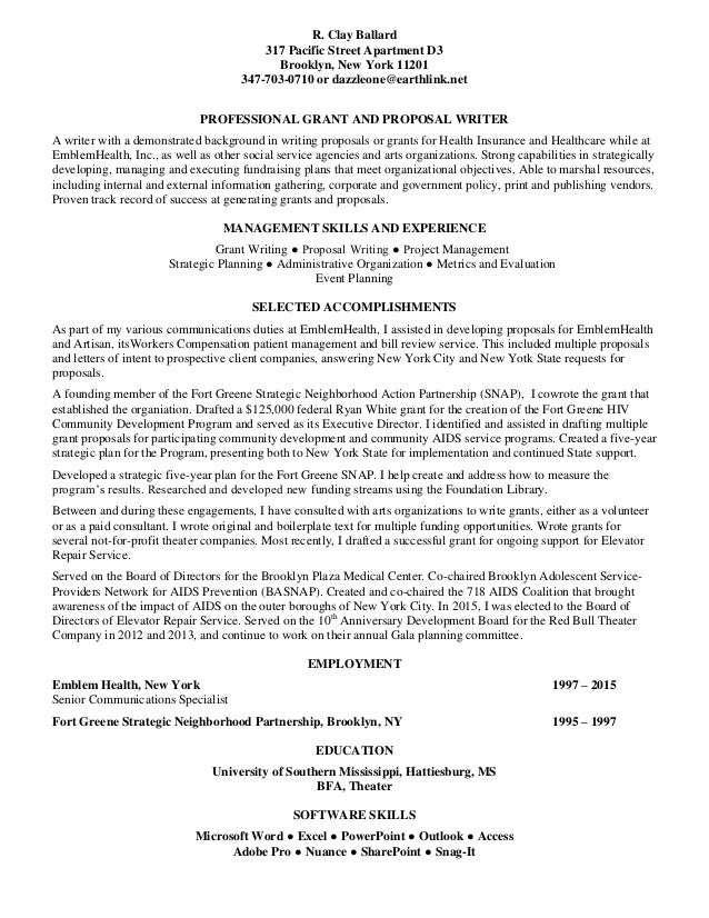 GRANTWRITER RESUME Ballard Clay041616
