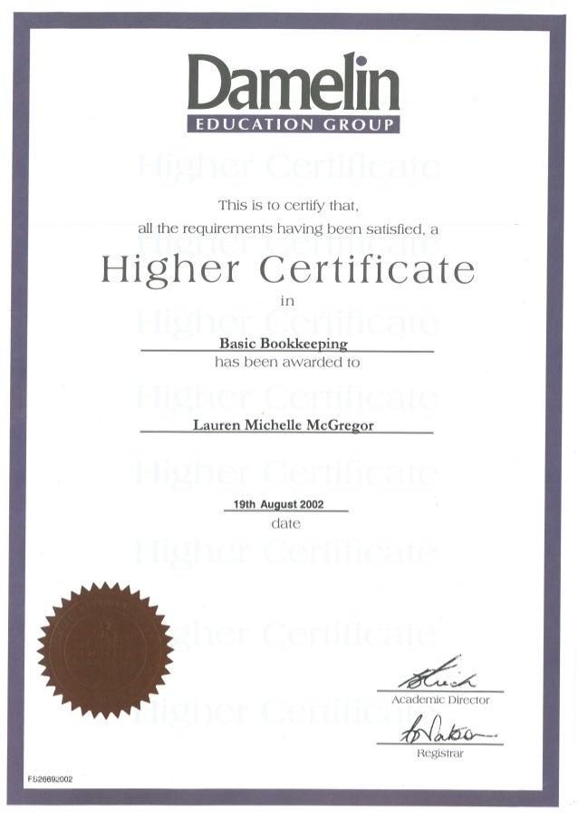 05 Damelin Higher Certificate In Basic Bookkeeping