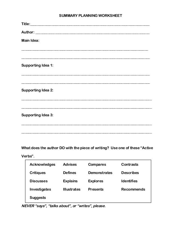 Printables Summarizing Worksheets summarizing worksheets summary planning worksheet title