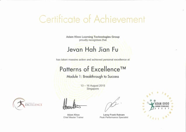 Patterns of Exellence Certification of Achievement
