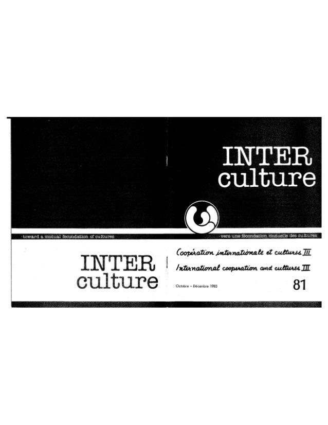 81 coopération internationale et cultures. cahier iii. r. vachon, s. block, y. diallo, s. hvalkov, r. panikkar. (textes f...
