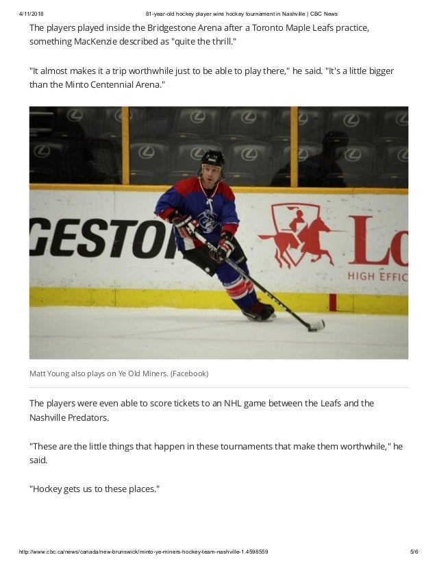 81 Year Old Hockey Player Wins Hockey Tournament In Nashville