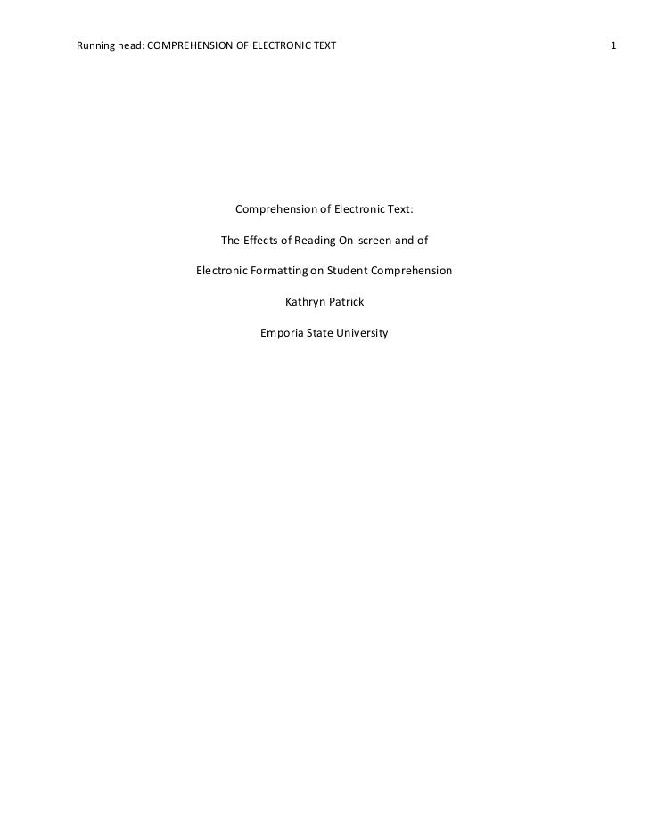 Comprehension of Electronic Text:The Effects of Reading On-screen and of <br />Electronic Formatting on Student Comprehens...