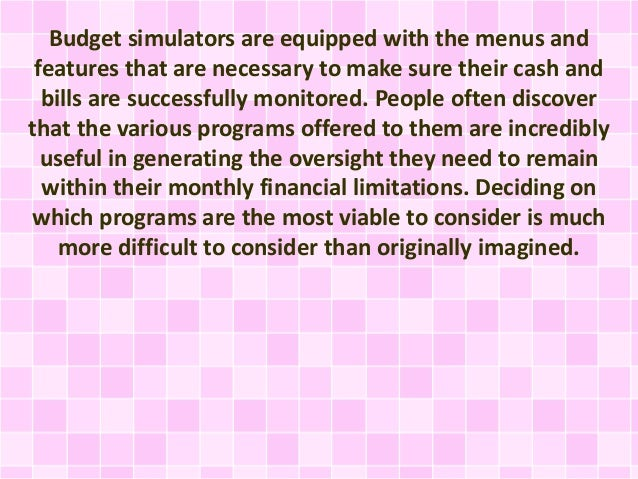selecting the right personal budget simulator