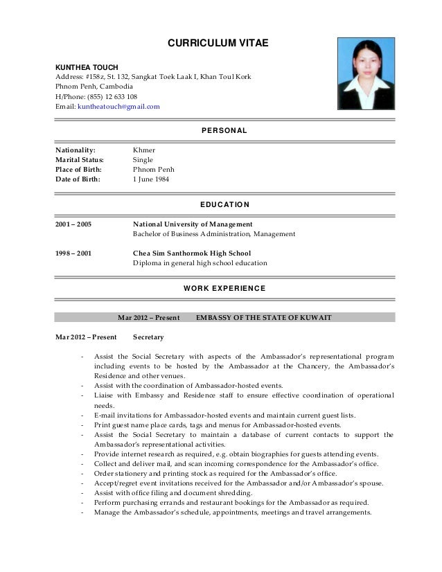 ambassador cv
