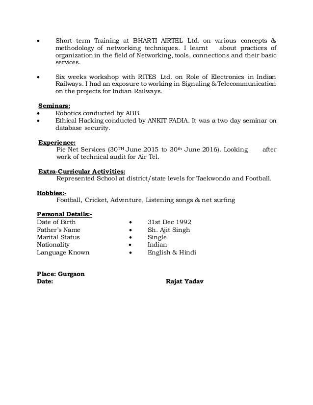 rajat resume 2016