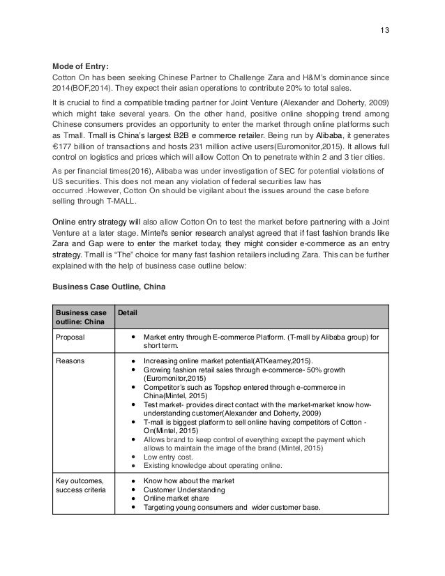 market entry strategy case study zara internationalisation in china