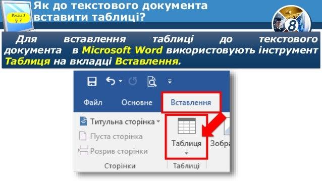 8 Як до текстового документа вставити таблиці?Розділ 3 § 7 Для вставлення таблиці до текстового документа в Microsoft Word...