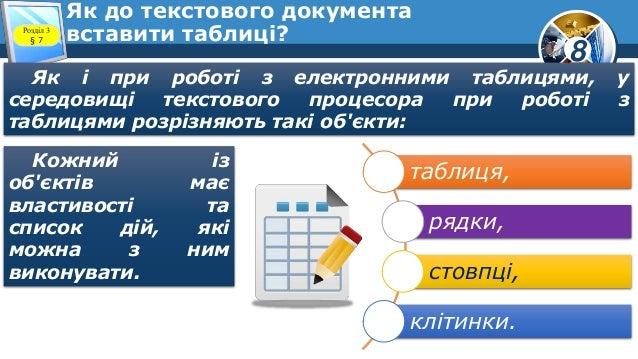 8 Як до текстового документа вставити таблиці?Розділ 3 § 7 Як і при роботі з електронними таблицями, у середовищі текстово...