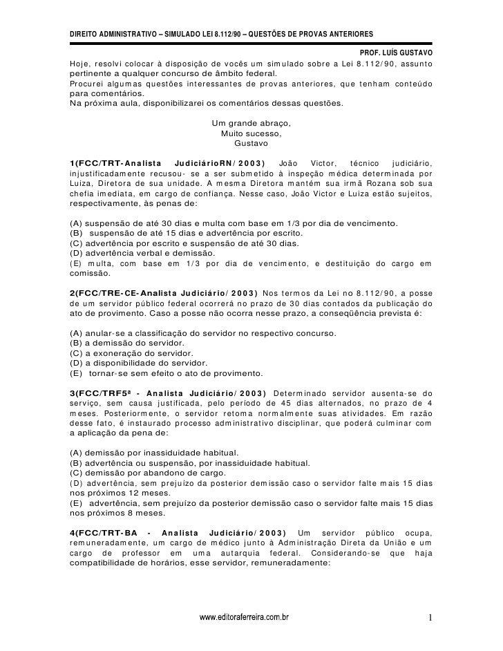 DIREITO ADMINISTRATIVO SIMULADO LEI 8.112/90 QUESTÕES DE PROVAS ANTERIORES                                                ...