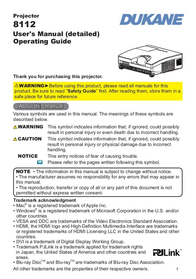 Projector  8112  User's Manual (detailed) Operating Guide  Thank you for purchasing this projector. WARNING►Before using t...