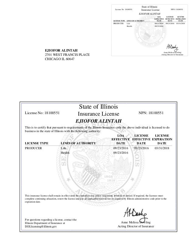 Ejiofor Alintah S Illinois Producer Insurance License
