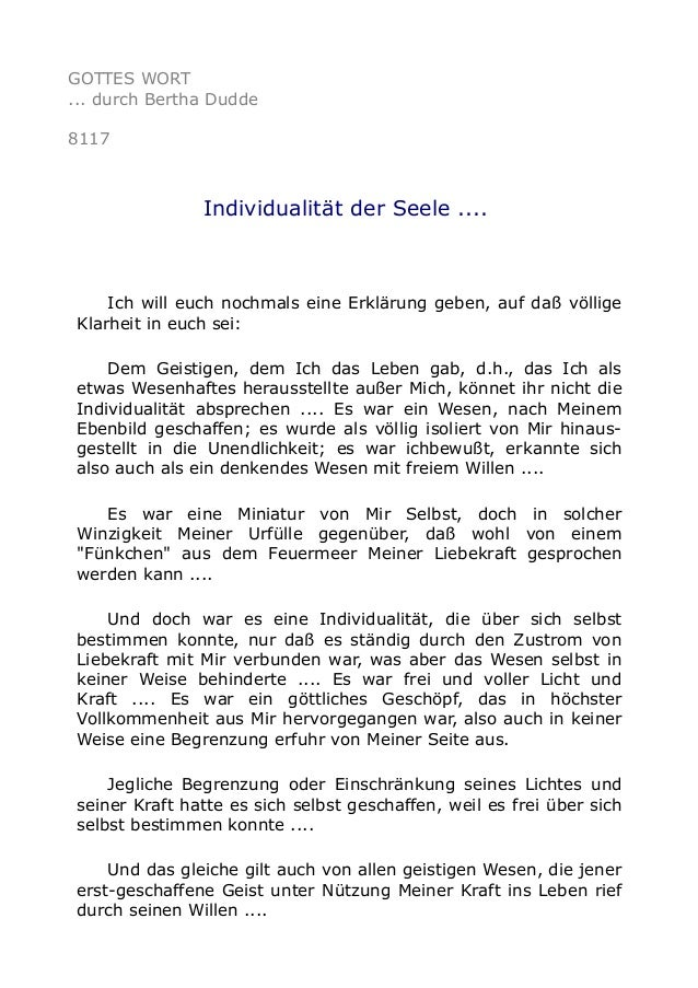 GOTTES WORT ... durch Bertha Dudde 8117 Individualität der Seele .... Ich will euch nochmals eine Erklärung geben, auf daß...
