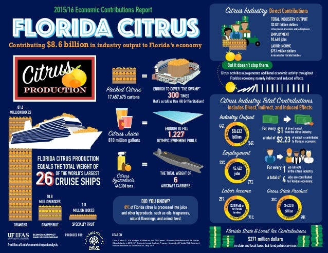 Citrus activities also generate additional economic activity throughout Florida's economy, namely indirect and induced eff...