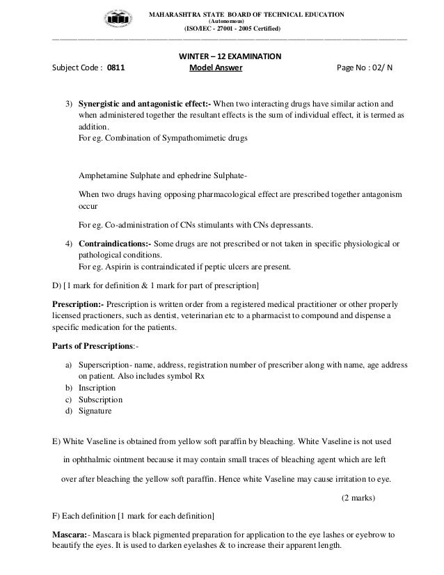 diploma pharmacy nd year msbte model answer key or 2