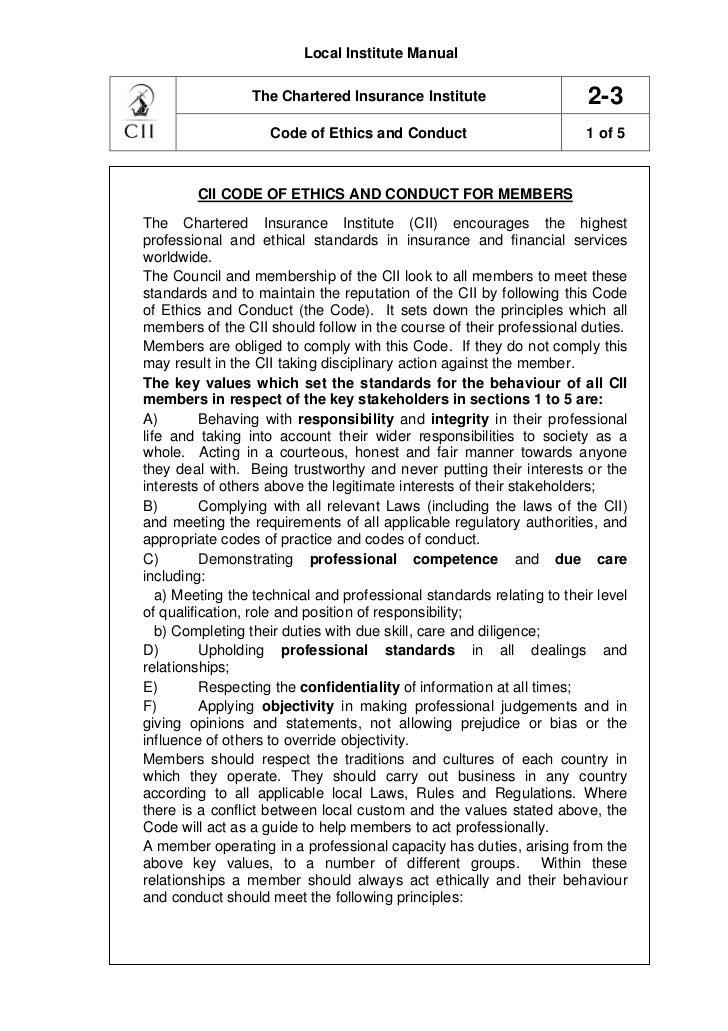 Local Institute Manual                 The Chartered Insurance Institute                     2-3                    Code o...