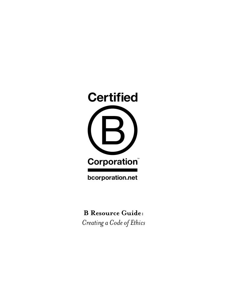 B Resource Guide:Creating a Code of Ethics