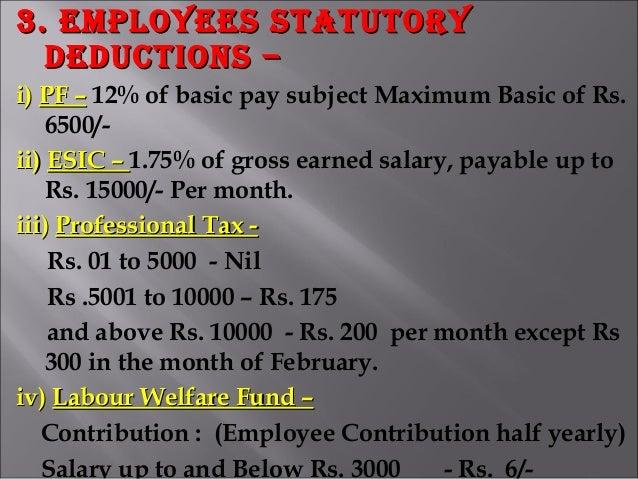 3. EmployEEs statutory3. EmployEEs statutory dEductions –dEductions – i)i) PF –PF – 12% of basic pay subject Maximum Basic...