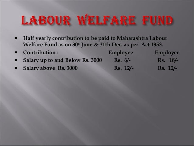 Half yearly contribution to be paid to Maharashtra Labour Welfare Fund as on 30th June & 31th Dec. as per Act 1953. Contri...