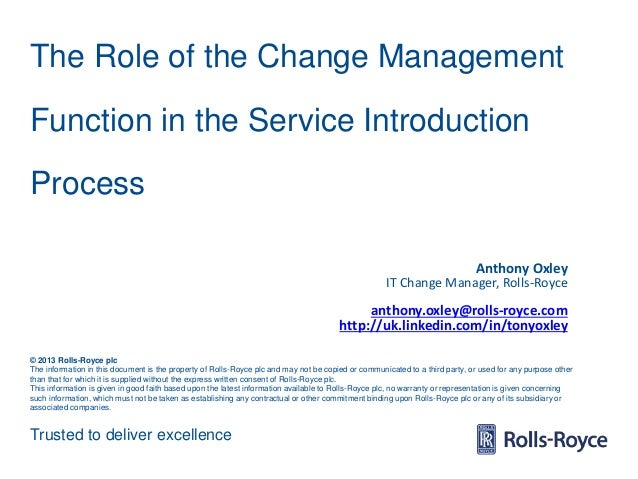 Trusted to deliver excellence © 2013 Rolls-Royce plc The information in this document is the property of Rolls-Royce plc a...