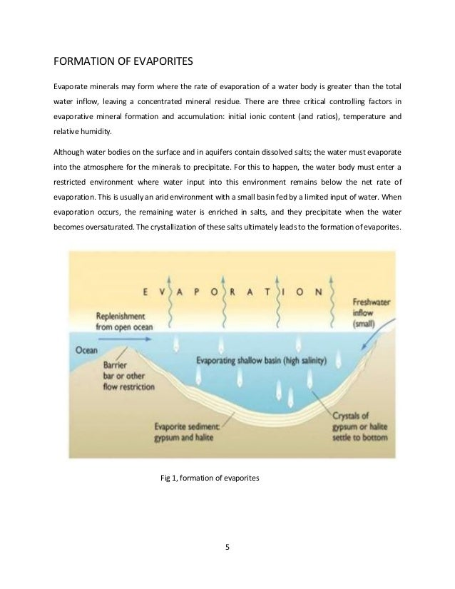 Evaporite mode of formation, characteristics and economic potential