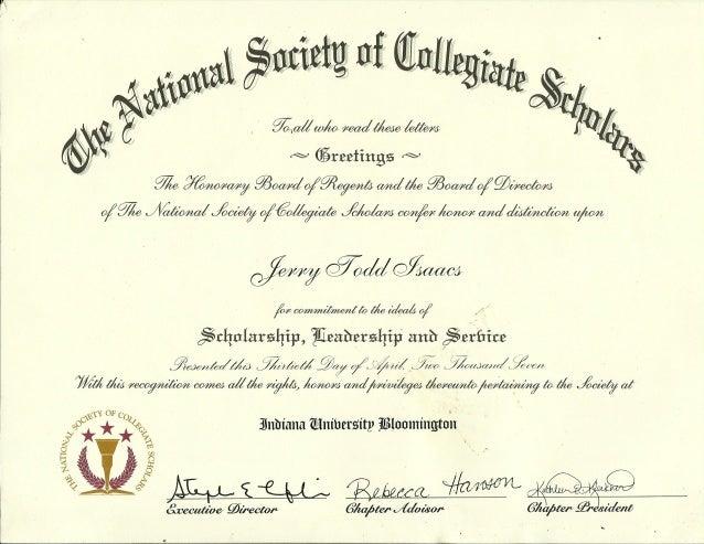 National Honor Society Of Collegiate Scholars