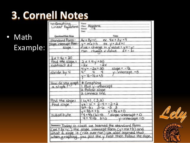 Sample Cornell Note. Researched Based Instructional Strategy Cornell ...