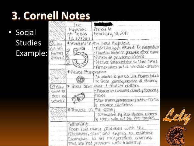 AVID Overview Cornell Notes – Sample Cornell Note