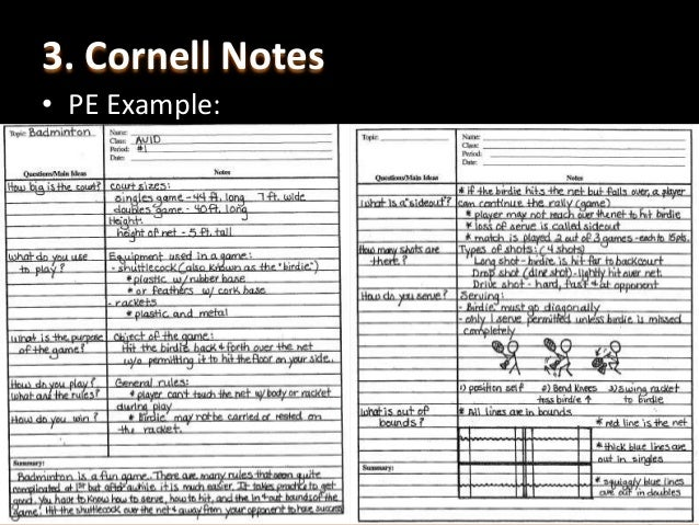 Cornell Notes Example  Ex