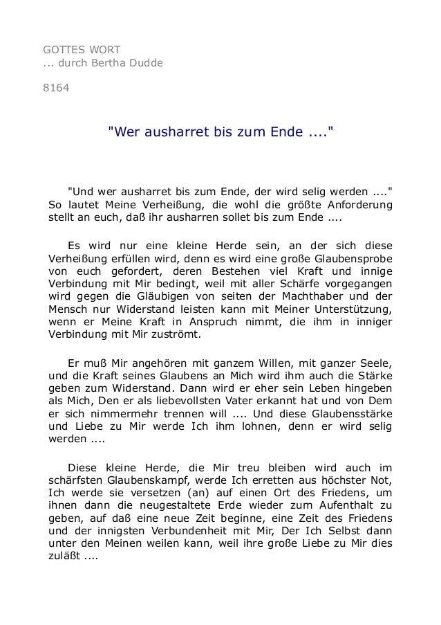"""GOTTES WORT ... durch Bertha Dudde 8164 """"Wer ausharret bis zum Ende ...."""" """"Und wer ausharret bis zum Ende, der wird selig ..."""