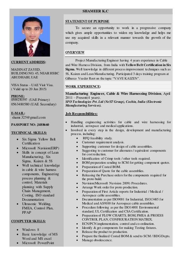 resume manufacturing engineer current address madinat zayed buildingno 45 near hsbc abudhabiuae visa