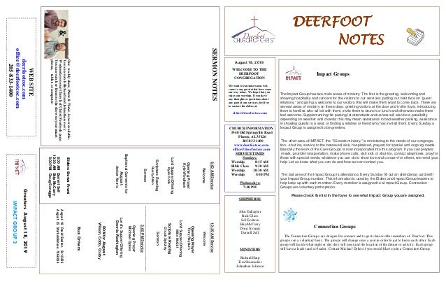 DEERFOOTDEERFOOTDEERFOOTDEERFOOT NOTESNOTESNOTESNOTES August 18, 2019 GreetersAugust18,2019 IMPACTGROUP3 WELCOME TO THE DE...