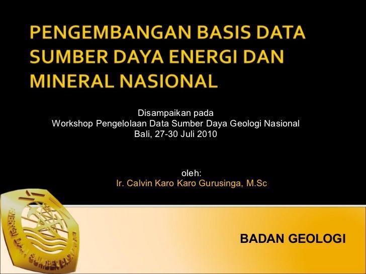 BADAN GEOLOGI Disampaikan pada Workshop Pengelolaan Data Sumber Daya Geologi Nasional Bali, 27-30 Juli 2010 oleh: Ir. Calv...