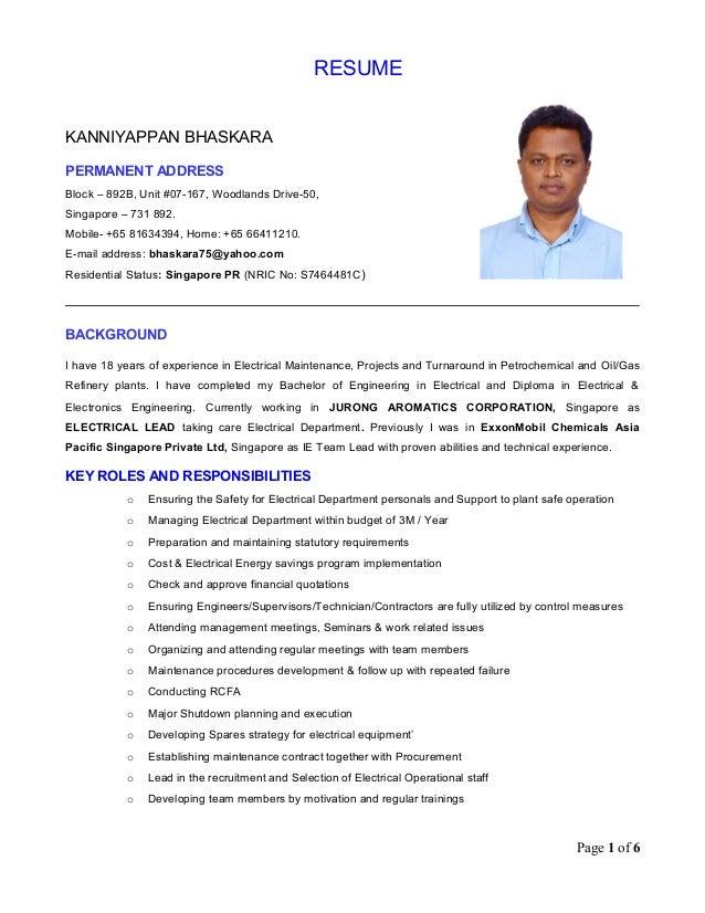 k bhaskara electrical lead resume