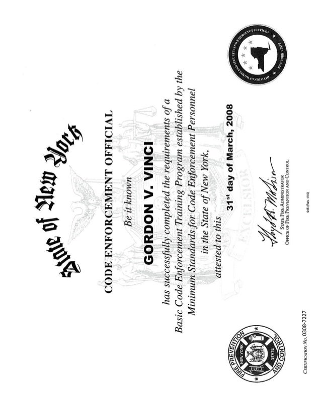 code enforcement  certif